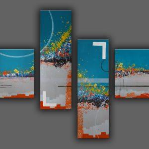 « Nagasaki 2.0 » (2019), Œuvre originale unique, signée et contresignée au dos. Quadriptyque aux dimensions 77*100 cm. Représentation abstraite du bombardement de Nagasaki le 9 août 1945. Technique de réalisation : Peinture acrylique sur toile en coton. Finition : Double couche de vernis brillant permettant d'assurer une excellente longévité (protection contre les UV, l'humidité et la poussière). Toile prête à être accrochée. Ajoutez une note artistique et moderne à votre décoration d'intérieur avec ce tableau design.